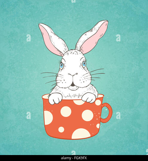 Hand drawn Easter card with white rabbit in a red cup - Stock-Bilder