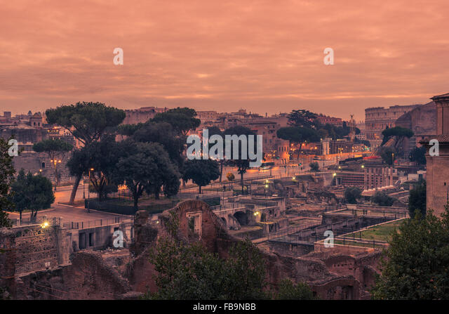Rome, Italy: The Roman Forum in the sunrise - Stock Image