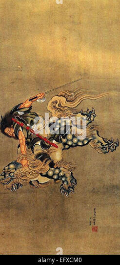 Katsushika Hokusai  Shoki Riding a Shishi Lion - Stock Image
