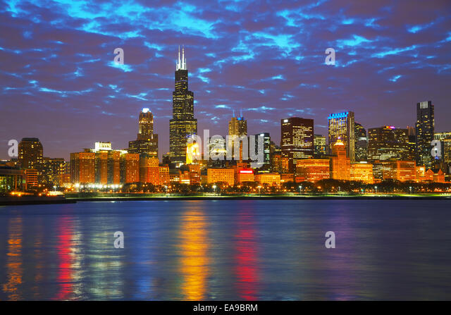 Chicago downtown cityscape in the night - Stock Image