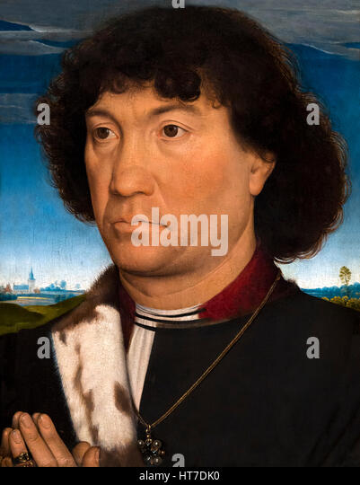Portrait of a Man from the Lespinette Family, by Hans Memling, circa 1485-90, Royal Art Gallery, Mauritshuis Museum, - Stock Image