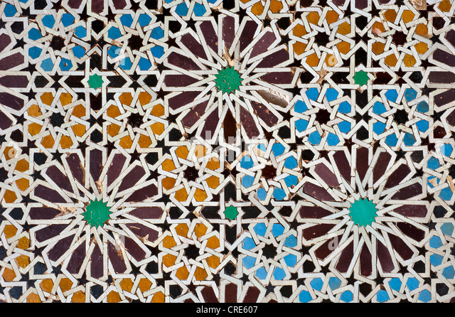 Tile mosaics, Cellular, Saadian Tombs, Marrakech, Morocco, Africa - Stock Image