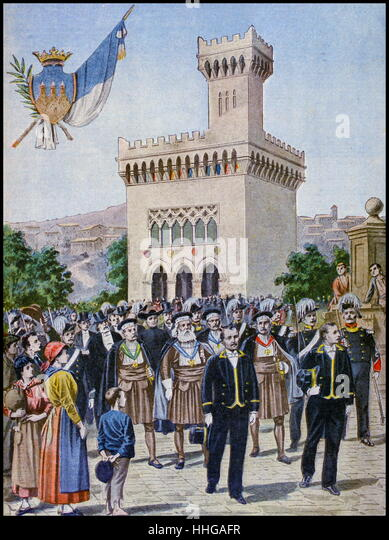 Illustration showing the San Marino Republic's Pavilion, at the Exposition Universelle of 1900. - Stock Image