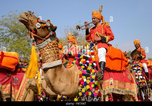 Asia, India, Rajasthan, Jaisalmer, Parade at desert festival - Stock Image