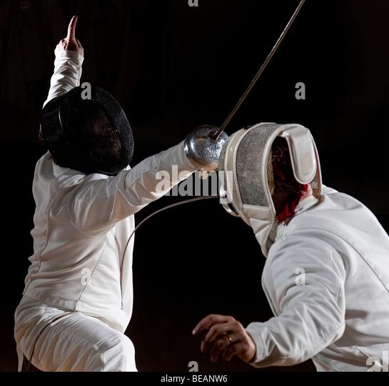 Épée swordsmen fencing. - Stock Image