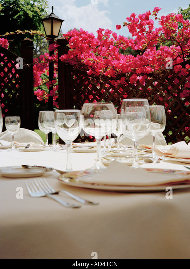 Place settings at a hotel restaurant - Stock Image