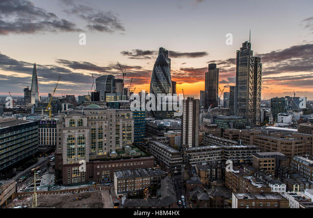 a London skyline, cityscape, high rise, skyscraper, the Gherkin, Tower 42, Heron Tower, night, dusk city, financial - Stock Image