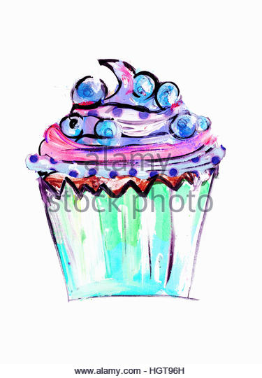 Close up of blueberry cupcake - Stock-Bilder