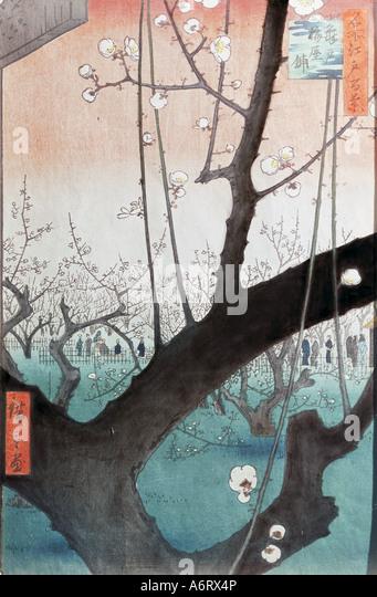 'fine arts, Hiroshige Utagawa (1797 - 1858), blooming plum tree in the Kameido garden', woodcut, 35x22,5 - Stock-Bilder