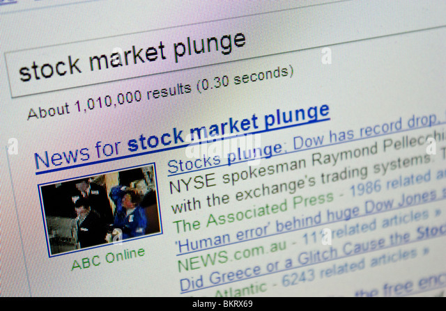 stock market plunge crash Dow record drop - Stock Image