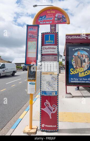 City Glider bus stop on Caxton Street, Paddington, Brisbane, Queensland, Australia - Stock Image