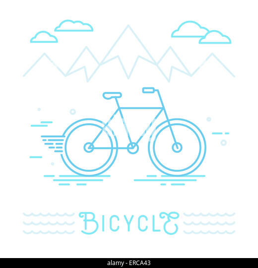 Poster design template in linear style with bicycle - sport concept illustration - Stock Image