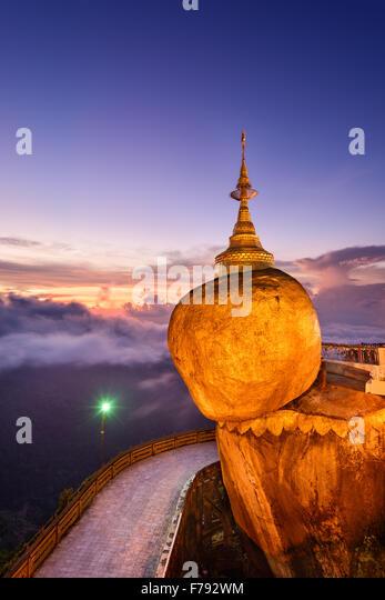 Golden rock of Kyaiktiyo, Myanmar. - Stock Image