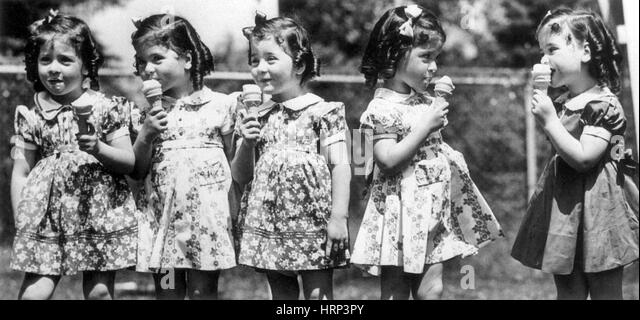 Dionne Quintuplets, 20th century - Stock Image