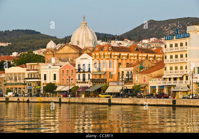 Greece, Northeastern Aegean Islands, Lesvos (Mytilini)-Mytilini Town, Waterfront of Southern Harbor & Agios - Stock-Bilder