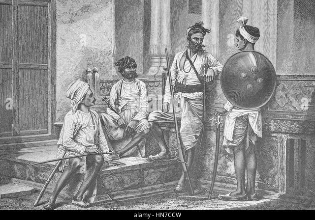 warriors from the Rajput, a member of the patrilineal clans of the Indian subcontinent, India. Krieger von der Kaste - Stock-Bilder