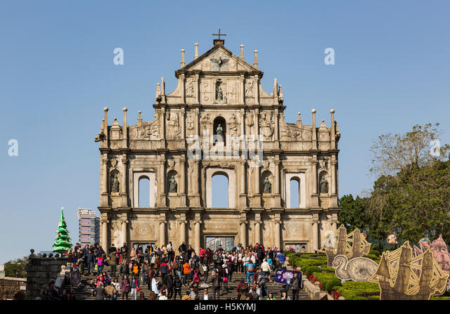 Macau, China. December 2015. View of the ruins of St. Paul church. - Stock Image