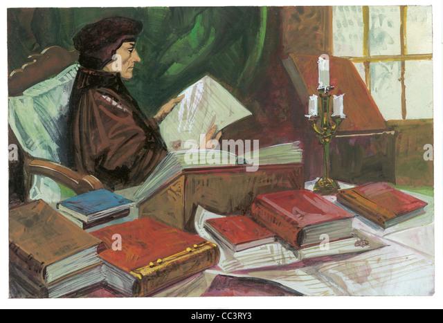 Netherlands, 16th Century. Erasmus Of Rotterdam (1469-1539), Humanist And Theologian - Coffee Painting - Stock Image