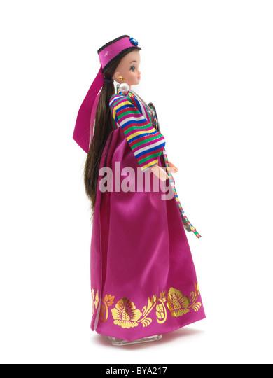 Korean Barbie Doll in Traditional Dress Wearing Hanbok South Korean - Stock Image
