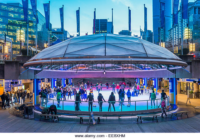Ice skating rink, Robson Square, Vancouver, British Columbia, Canada - Stock Image