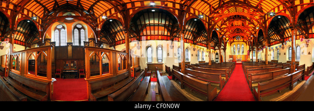 St Wilfrids Catholic Church Panorama Northwich showing wooden roof - Stock Image