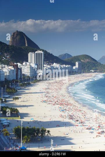 View of Copacabana beach, Rio de Janeiro, Brazil, South America - Stock Image