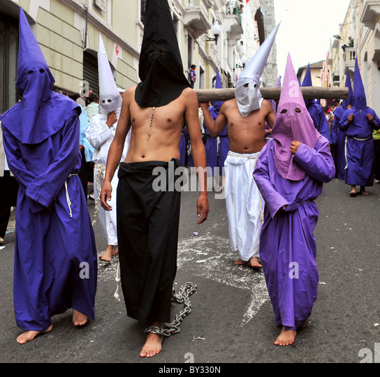 Catholic procession on Good Friday in Quito - Stock Image