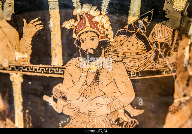 Madrid, Spain - February 24, 2017: Greek attic krater depicting Heracles insanity on theater at National Archeological - Stock Image