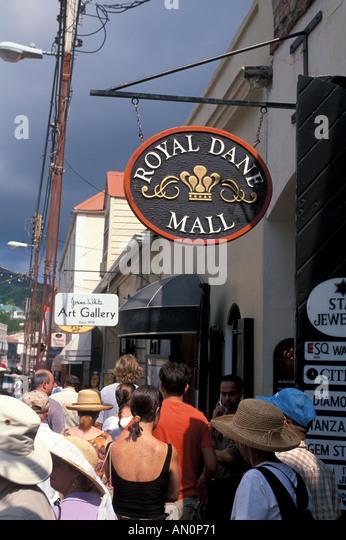 St Thomas USVI Charlotte Amalie duty free shopping area tourists and Royal Dane Mall sign - Stock Image