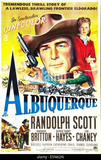 ALBUQUERQUE, from left: Randolph Scott, Barbara Britton, 1948 - Stock Image