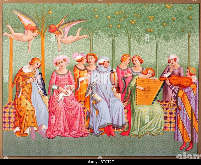 Courtly women listen to music in an orchard. - Stock-Bilder