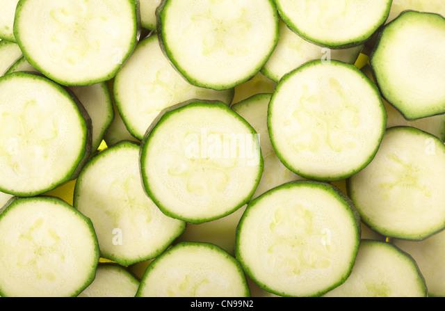 Zucchini sliced background - Stock Image