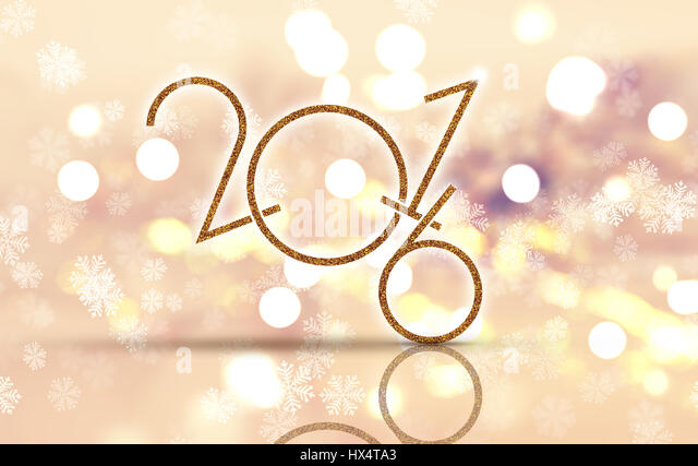 Happy New Year background with bokeh lights and glittery numbers - Stock Image