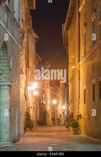 The Italian town late at night in Tuscany - Stock Image
