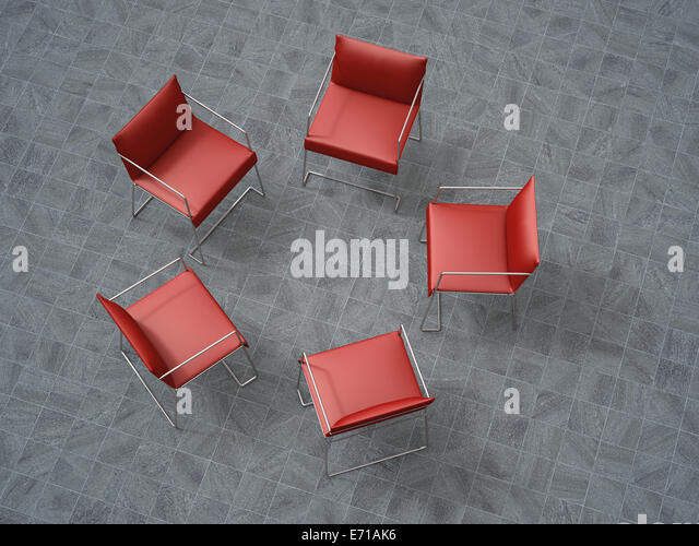 3D Rendering, five red chairs in a circle - Stock-Bilder