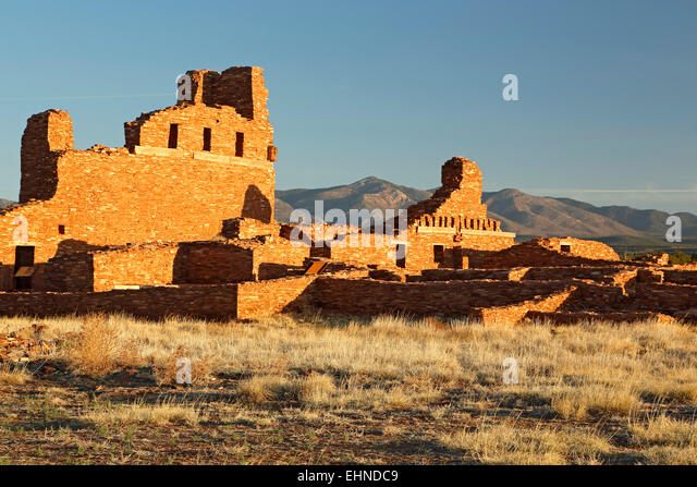 Church and pueblo ruins, Salinas Pueblo Missions National Monument, New Mexico USA - Stock Image