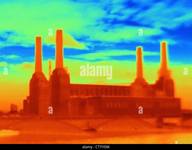 Thermal image of power station - Stock Image