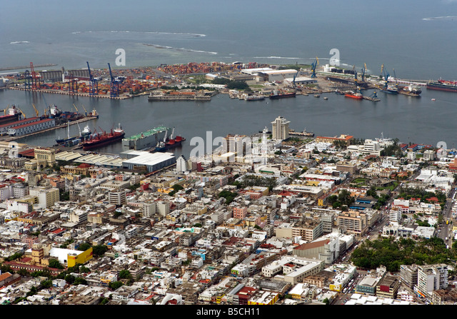 aerial view above Port of Veracruz Mexico and city center - Stock Image