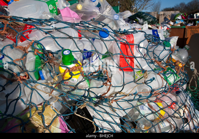 Close-up of waste at recycling collection station in car par UK - Stock Image