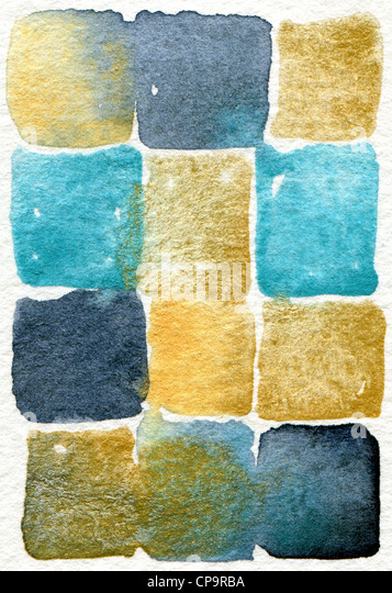 watercolor abstract painting in blue and cream suitable for use as a background texture - Stock Image