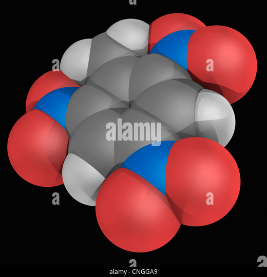 Trinitrotoluene (TNT) molecule - Stock Image
