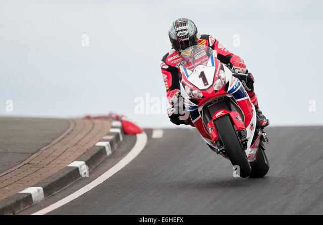 John McGuinness during the Vauxhall Superbike Race at the Northwest 200 - Stock Image