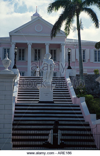 Bahamas New Providence Nassau Government House Christopher Columbus statue - Stock Image