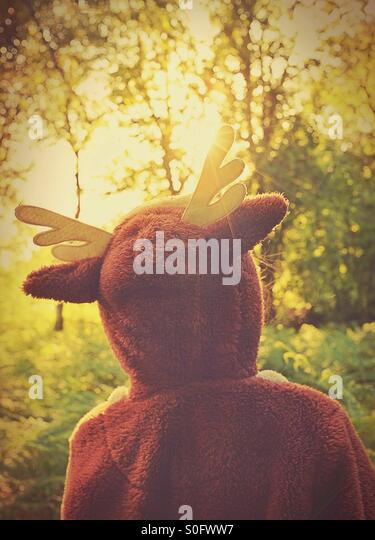 Young naturalist exploring the woods dressed in a deer onesie - Stock-Bilder