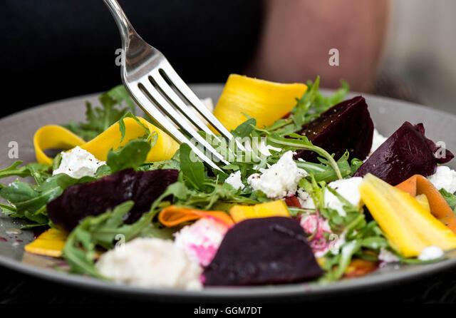 Goats Cheese Mixed Vegetarian Summer Salad - Stock Image