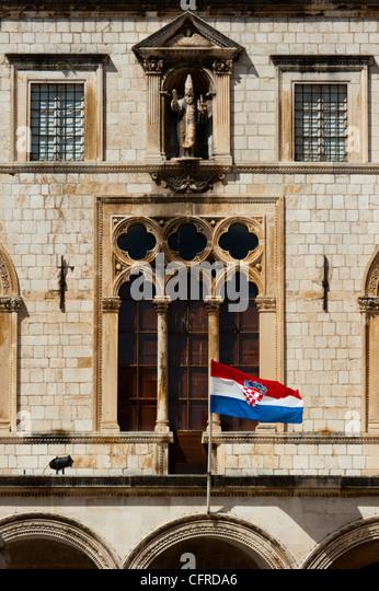 Detail, Palata Sponza (Sponza Palace), Dubrovnik, UNESCO World Heritage Site, Dubrovnik-Neretva county, Croatia, - Stock Image