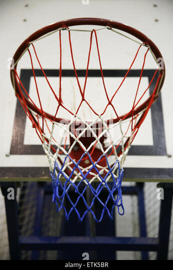 Close-up photo of an basketball hoop as a background - Stock Image