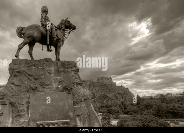B/W Statue/Plaque in memory of the Royal Scots Greys, Princes St, Edinburgh, Scotland, UK - Stock Image