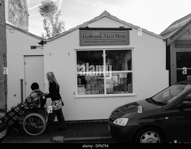Butchers meat shop in Holbrook, Derbyshire, United Kingdom, UK - Stock Image