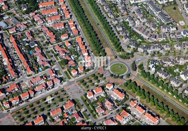 The Netherlands, Helmond, Residential district called Brandevoort. Aerial. - Stock Image
